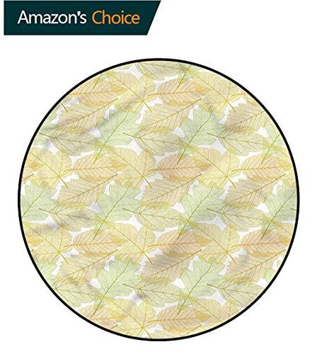 Acacia Floors - RUGSMAT Autumn Fall Round Kids Rugs,Seasonal Acacia Foliage Floor Mat Home Decor Round-35