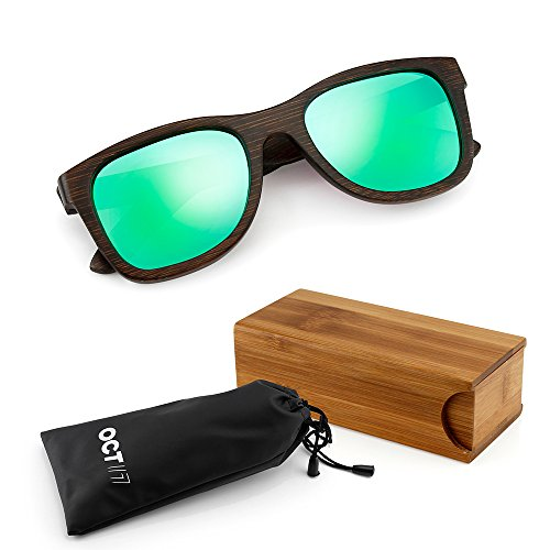 Oct17 Bamboo Wood Sunglasses, Real Wooden Eyewear, Vintage lightweight Polarized Lenses Sunglass for Men Women - - Lense Green Sunglasses