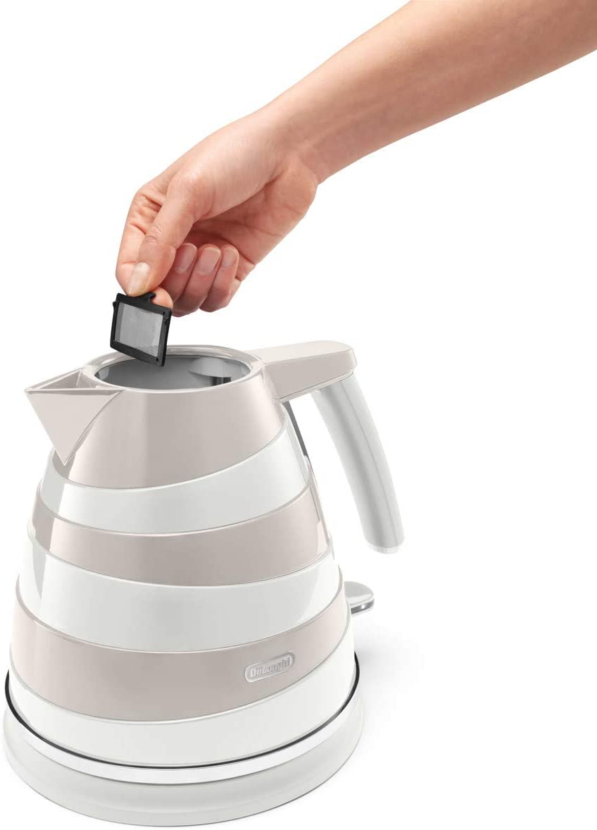 De'Longhi Avvolta KBAC3001.W Kettle, anti-scale filter, 1.7 Liters, 360° swivel base, White White