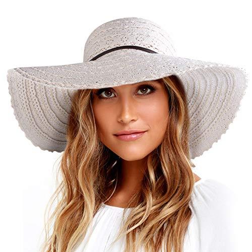 Xixihaha Sun Hats for Women Ladies Wide Brim Foldable Adjustable Summer Floppy