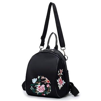 Mochila vintage retro Cremallera del bordado de la mochila del viaje de las mujeres negras Comercio. Pasa el ratón por ...