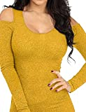 REGNA X Womens Round Neck Comfy Cold Shoulder Ribbed Bodycon Fit Top Tee