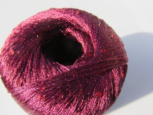 Knitting Fever Schmaltz Sequin Thread Carry Along Yarn Color 15 Deep Wine