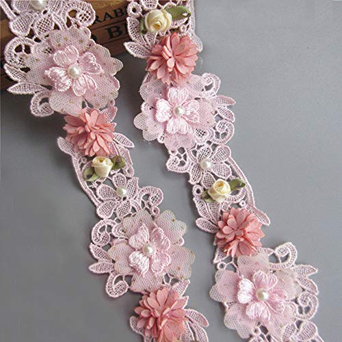 1 Meter Pearl Beaded with 3D Flower Polyester Lace Edge Trim Ribbon 5.3cm Width Vintage Style Pink Edging Trimmings Fabric Embroidered Applique Sewing Craft Wedding Bridal Dress Clothes Decoration