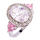 Emsione 925 Silver Plated Rainbow Topaz Womens Ring