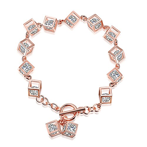Saucy Romantic Rose Gold Plated Cube Cubic Zirconia Girls Bracelet - Matthew L. Garcia (Saucy Jack)