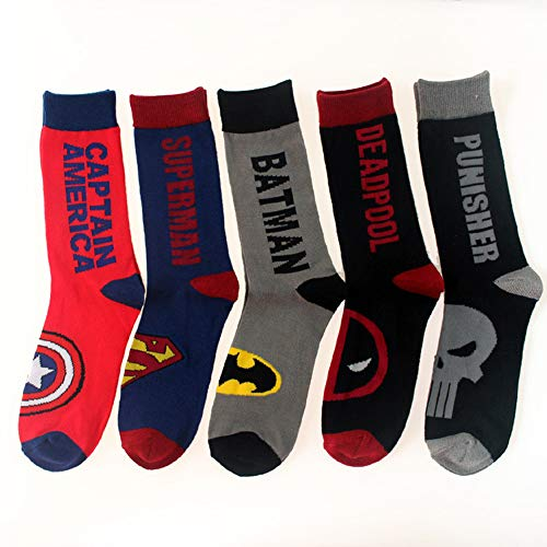 Superhero Dress Socks-Captain America,Men Children Socks. Superman,Batmen,Punisher,Deadpools,Cozy Cutton Socks Size10-13,Fits Shoe Size 6-12(5 pack)) for $<!--$19.95-->