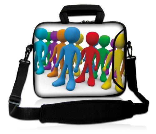 Luxburg® Design Laptoptasche Notebooktasche Sleeve mit Schultergurt und Fach für 12,1 Zoll, Motiv: bunte Männchen