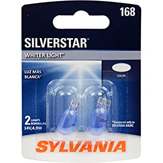 SYLVANIA - 168 SilverStar Mini Bulb - Brighter and Whiter Light, Ideal for Interior Lighting, Center High Mount Stop Light (CHMSL), and more (Contains 2 Bulbs)
