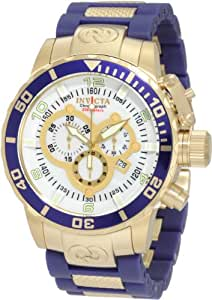 Invicta Men's 10619 Corduba Chronograph Mother-Of-Pearl Dial Blue Polyurethane and 18k Gold Plated Watch