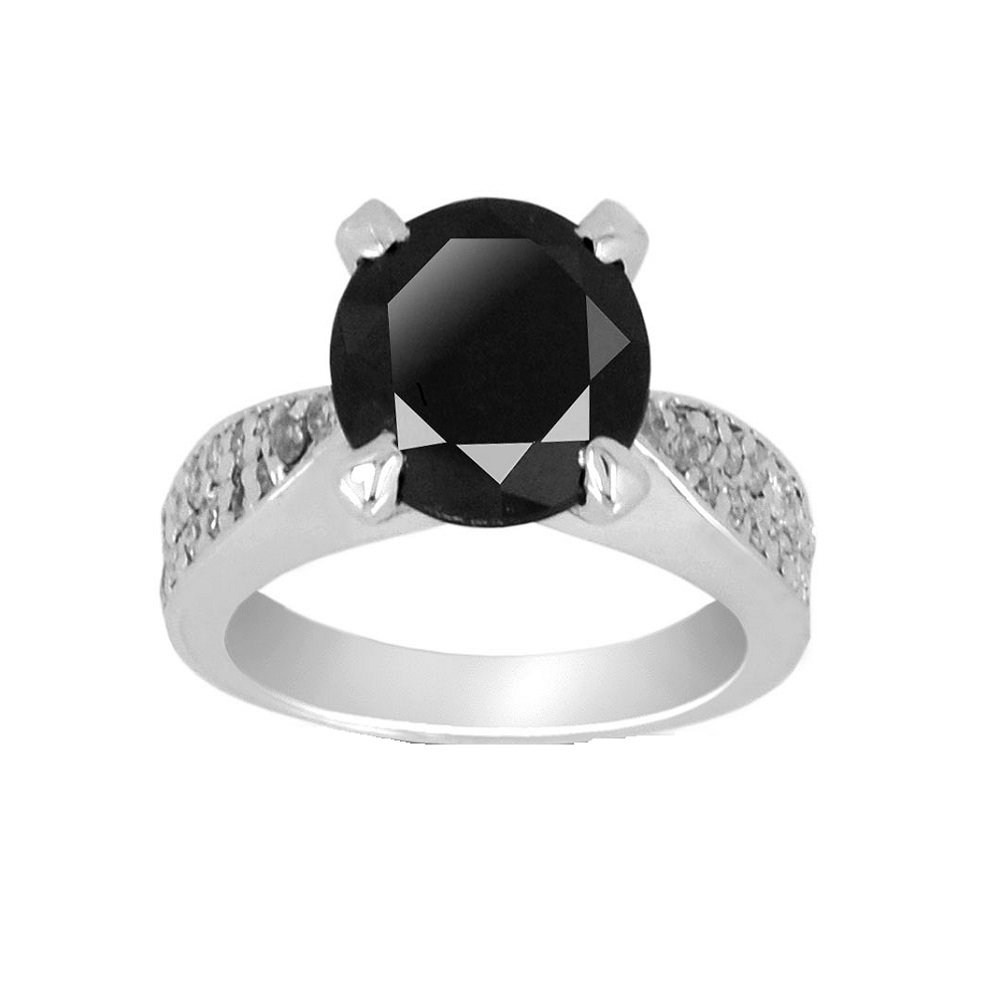 3.15 Ct Black Diamond with Diamond Accents Designer Ring in 925 Silver for Women's