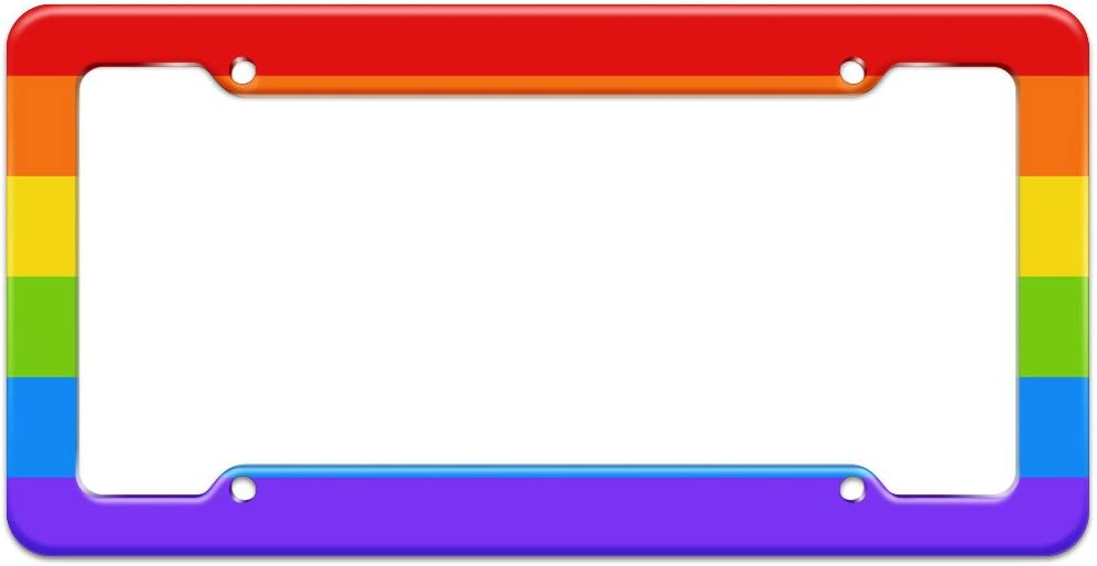 Rainbow Rides Equality Black License Plate Frame