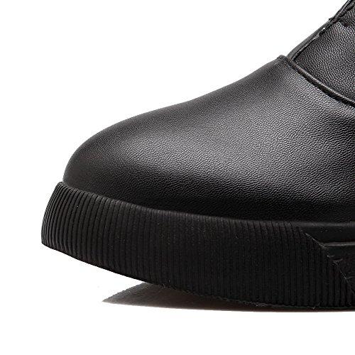 à Femme Bas Microfibre Tire Légeres d'orteil Talon Noir Chaussures AgooLar Fermeture Bpqqw