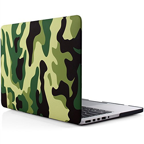 iDOO Matte Rubber Coated Soft Touch Plastic Hard Case for MacBook Pro 13 inch Retina without CD Drive Model A1425 and A1502 Green Camouflage - Camo Computer Case