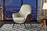 Accent Chair for Living Room, Faux Leather Arm Chair with Diamond Stitch Detailing and Natural Wooden Legs (Beige/Light Brown)