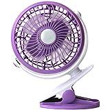 LOHOME B01FHKRJWOLK 360 Degree Rotation Fan, Portable Super Mute Desktop Fan for PC Laptop Notebook Electronic Cooling Mini Clip Fan for Baby Stroller Rechargeable and Quietness Fan, Purple