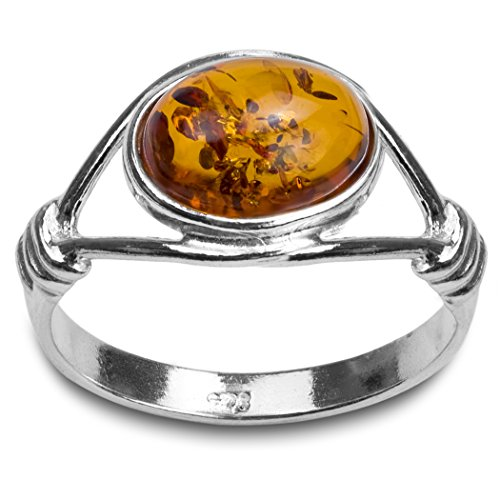 Light Amber Stone (Light Honey Amber Sterling Silver Oval Stone Classic Ring Size 7)