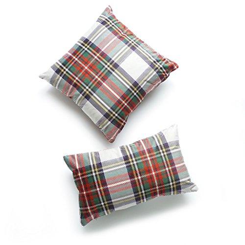 hrow and Lumbar Pillow Cover PREMIUM Short Plush Scottish Tartan Plaid Gray Classic Stewart 18