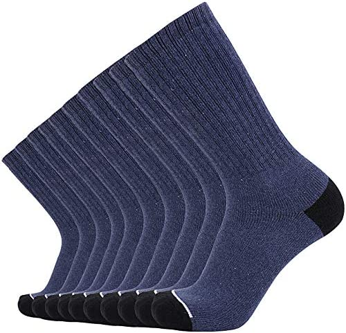 Enerwear 10P Pack Men's Cotton Moisture Wicking Heavy Cushion Crew Socks