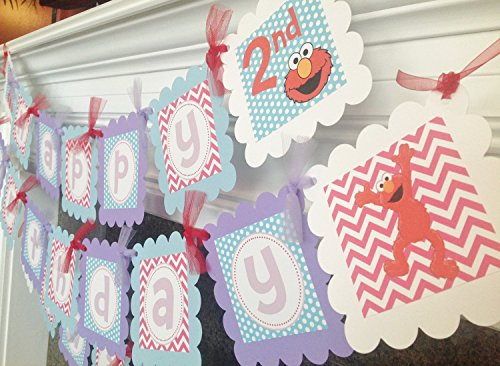 PARTY PACK SPECIAL - Abby Cadabby & Elmo Inspired Happy Birthday Collection - Baby Blue Polka Dots, Hot Pink Chevron & Lavender, Red and White Accents - Party Packs Available (Abby Cadabby Party City)