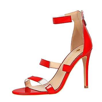 9260f202ff Sexy Women Pumps Leather High-Heel Stiletto Open-Toe Dress Sandals Back  Zipper Ankle