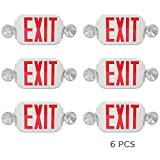 eTopLighting [6 Pack] LED Red Exit Sign Emergency Light Combo with Battery Back Up UL924 ETL listed, Red Lettering in White Body, Bug Eye Side Light, AGG2194