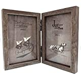 CECII Wood Picture Frame, Hinged Double Picture Frame, Double 4 by 6 inch (Random Selected Color)