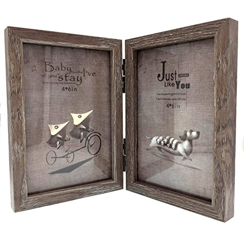 CECII Wood Picture Frame, Hinged Double Picture Frame, Double 4 by 6 inch (Random Selected Color) (Friends Picture Frame Vertical compare prices)