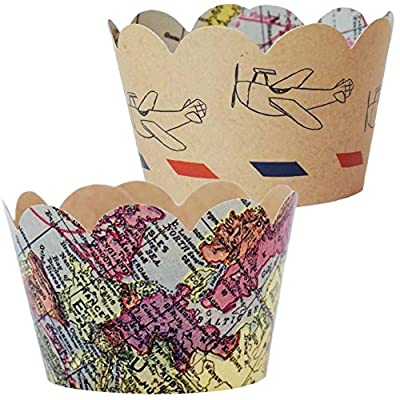 Baby Shower Decorations for Boy, 36 Vintage Map Cupcake Wrappers, Travel Theme Engagement Party Supplies, Airplane Birthday, Adventure Graduation Cup Cake Liner, Around the World Wedding Favor Holder