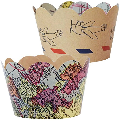 Travel Themed Going Away Decorations - 36 Vintage Map Cupcake Wrappers | Farewell Retirement Party Supplies, Airplane Birthday, Adventure Awaits Cup Cake Liner, Around the World Wedding Favor Holder ()