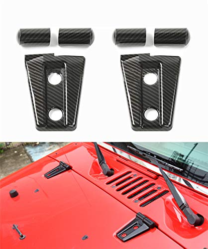 2pack ABS Front head Engine hood Hinge Cover Molding Trim for Jeep Wrangler JK Unlimited 2/4Door 2007-2018(carbon stripe)