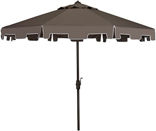 Safavieh Outdoor Collection Zimmerman Crank Market Umbrella with Flap