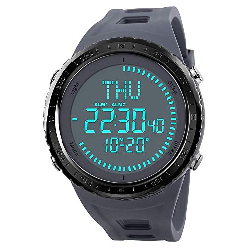 SKMEI Men's Sports Watches, Military Compass Big Face Waterproof Outdoor Digital Watch with Luminous Countdown Stopwatch