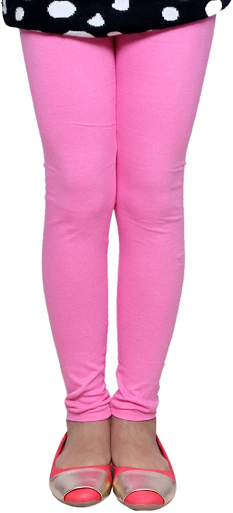 Indistar Girls Super Soft Cotton Ankle Length Solid Colors Leggings/_Pink/_2-3 Years