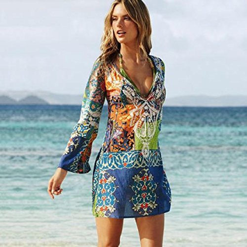 Price comparison product image New Women Chiffon Bathing Suit Sexy Bikini Swimwear Cover Up Beach Dress (Colorful, L)