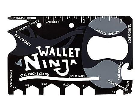 iNinja Tools 18 In 1 Multipurpose Credit Card Size Pocket Tool, Black