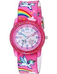 Timex Girls TW7C25500 Time Machines Pink/Rainbows & Unicorns Elastic Fabric Strap Watch