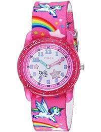 Girls TW7C25500 Time Machines Pink/Rainbows & Unicorns Elastic Fabric Strap Watch
