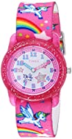 Timex Girls TW7C25500 Time Machines Pink/Rainbows & Unicorns Elastic Fabric Strap Watch