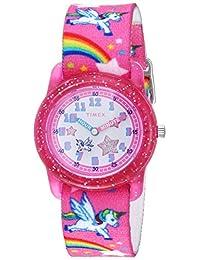 Timex - Reloj analógico con correa de tela elástica para niñas, Pink/Rainbows & Unicorns