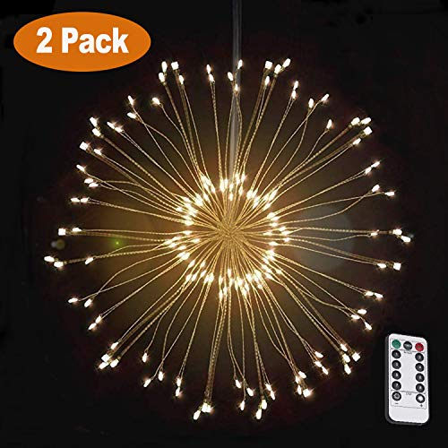 VanRayal Dandelion Led String Lights Battery Powered, 8 Modes 120 LED Copper Fairy Firework Starburst Light Decoration Garden,Patio,Room,Wedding,Party