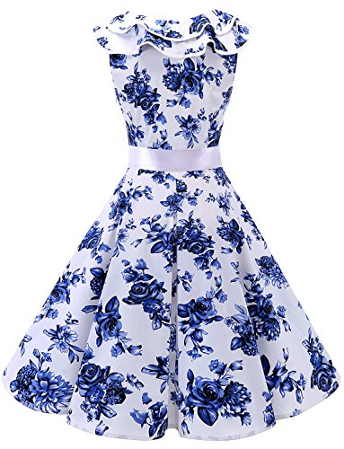 volante White Blue Encolure 50 Robe Manches Cocktail Flower sans Bridesmay de Vintage soire annes q1Aq8FP7