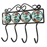 IndianShelf Turquoise Green Leaf Handmade Ceramic Coat Tie Pegs Wall Tiles Rail Clothes Keys Hangers Home Accessories Office Utility Hooks