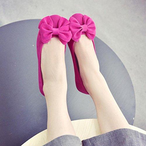 Elevin (tm) Femme Printemps Été Chaussures À Bouts Ronds Plat Unique Nœud Papillon Slip Flattie Ballet Bateau Chaussures Rouge