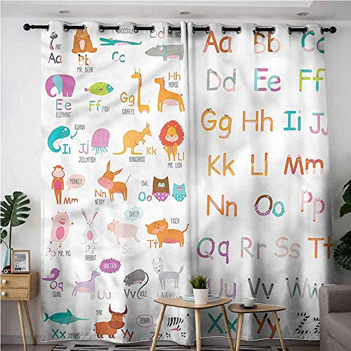 - AndyTours Curtains for Bedroom,Kids Colorful Zoo Themed Alphabet,Great for Living Rooms & Bedrooms,W108x72L