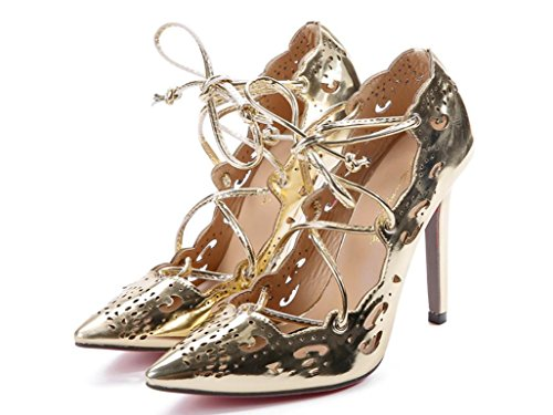 YCMDM donne Grandi sandali Officine scavato Tacchi alti singoli pattini 39 36 35 38 37 40 41 42 43 , gold , 43