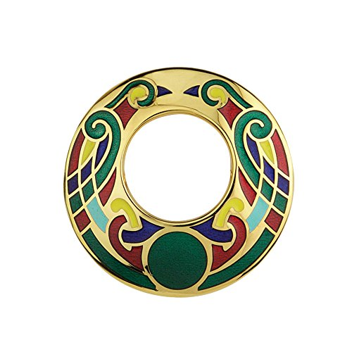 Biddy Murphy Open Celtic Brooch Large Gold Plated & Multiple Colors Irish Made by Biddy Murphy