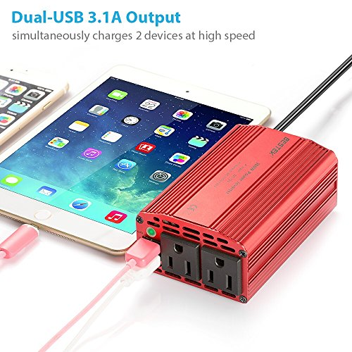 Image of BESTEK 300W Power Inverter DC 12V to 110V AC Car Inverter with 3.1A Dual USB Car Adapter