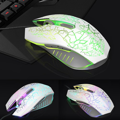 VersionTech 2400 DPI Gaming Mouse with 7 Auto-Changing Color's for Computer/PC/Laptop, USB Wired Mouse, 4 Adjustable DPI Levels with 6 Buttons for Gaming/Gamer, White