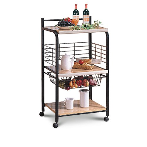 Black Microwave Cart With Two Shelves & Wheels by AD